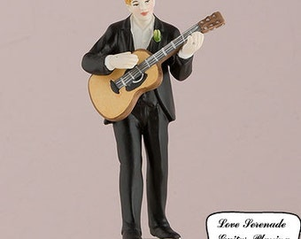 Love Serenade Groom Only Wedding Cake Toppers Guitar Playing Romantic Porcelain Hand Painted Figurines