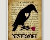 Le Corbeau, The Raven, Edgar Allan Poe, raven wall art, goth art, macabre art, French language art, literature print, library wall art print