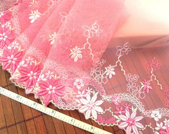 Embroidered trim, Lace trim, Embroidered lace, Tulle lace, Wedding lace, Lolital lace, Lingerie lace, Pink lace,  2 yards RD161