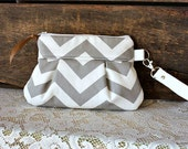 Chevron Wristlet/ Pouch/ Clutch// Nautical stripe // Small Size // Grey & White- MADE TO ORDER--