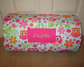 MONOGRAMMED Children THICK COMFY Nap Mat PreSchool Chevron  Bird and Owl with Attached Cuddle Double Sided Minky Blkt and Pillow