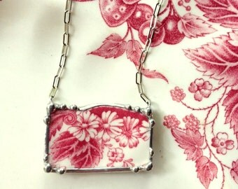 Johnson Bros Strawberry Fair broken china jewelry necklace red toile transferware made from broken china