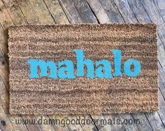 mahalo tiki doormat - Hawaiian Thanks