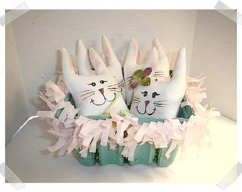 Bunny Ornaments/Set of 4/ White Muslin Fabric /With Basket/ Handmade*