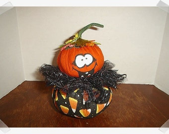 Whimsical Trick or Treat Pumpkin/ Roly Poly/ Handmade*