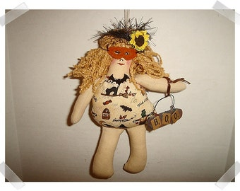 Halloween Doll Ornament/ Muslin Fabric & Printed Fabric /Handmade**