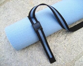 Unisex Strap a Mat  YOGA MAT SLING  Tote  & Yoga Strap in Black Webbing w/ Dusty Blue Ribbon Trim
