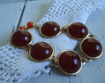 Vintage Carnelian Glass and Gold Bracelet Autumn Fall Statement Wrist Art