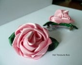 Hair Clip / Satin Ribbon Vintage Rose with Leaves on French Clip (6cm)