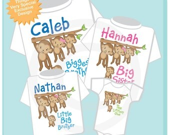 Set of Four Sibling Monkey Shirts and Onesies, Biggest Brother, Big Sister, Little Big Brother and Unknown baby gender (02112014k)