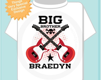 Big Brother Shirt or Onesie, Red Guitar Rocker Shirt, Personalized Big Brother Shirt, Infant, Toddler or Youth sizes t-shirt (02192014a)