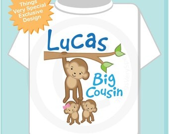 Big Boy Cousin Shirt or Onesie, Monkey Shirt, Big Cousin Boy Monkey twin babies, Personalized One Boy and One Girl Baby cousin (03262014e)