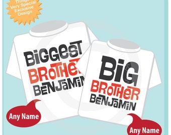 Biggest Brother and Big Brother Shirt set of 2, Sibling Shirt, Personalized Tshirt with Black and Red Letters (06192014a)