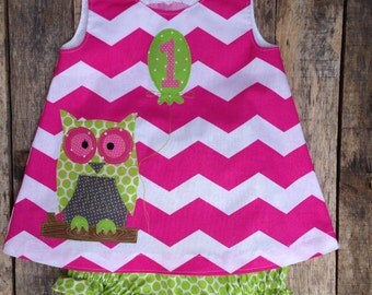 Opal The Owl First Birthday dress