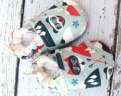 Organic Knits Vegan Ski Fox  All Fabric Soft Sole Baby Shoes / Made to Order / Babies Bear