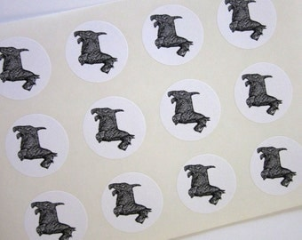 Scottie Dog Stickers One Inch Round Seals