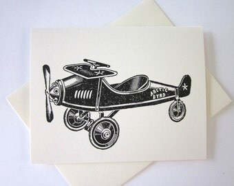 Vintage Toy Airplane Cards Set of 10 in White or Light Ivory with Matching Envelopes
