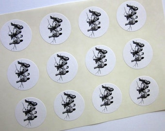 Sparrows Bird Stickers One Inch Round Seals