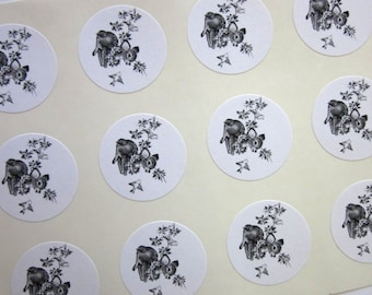 Baby Deer Fawn Stickers One Inch Round Seals