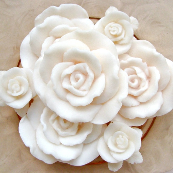 Soap flowers bouquet . custom scent white rose soaps, made to order . wedding favors, shower favors, Mothers Day gift . French Market