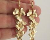 Cascading Gold Flower Earrings, Long Gold Earrings