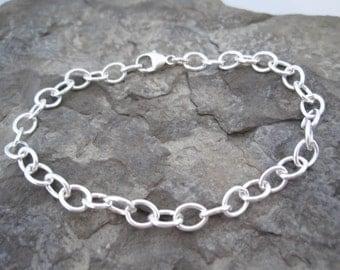 Sterling Silver Link Bracelet Women, Thick Bracelet, Silver Cable Bracelet, Chunky Bracelet, Charm Bracelet, Sterling Silver Charm Bracelet