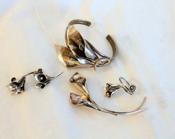 Vintage Stuart Nye Set - Sterling Silver - Calla Lily Flower - Pin  Ring  Earrings  Bracelet