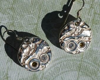Steampunk Watch Part Impression Fine Silver Earrings Peridot Cubic Zirconias
