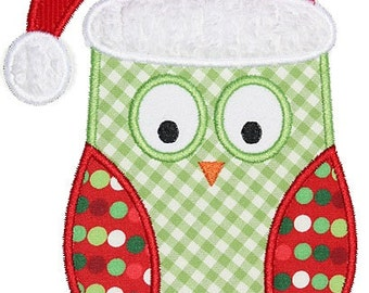 373 Christmas Owl Machine Embroidery Applique Design
