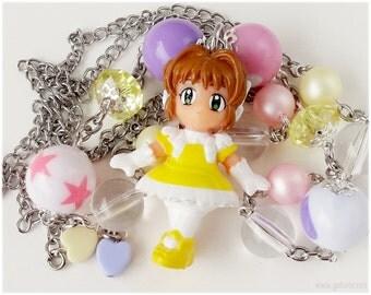 Fairy Kei, Cardcaptor Sakura Necklace, Anime Figure Pendant, Beaded Stainless Steel Chain - Kawaii Jewelry, Japanese