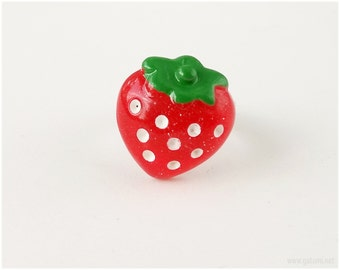 Red Strawberry Ring, Adjustable, Silver Tone - Sweet Lolita, Harajuku Street Fashion