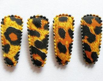 25 pcs -  Orange Leopard graphic Hair Clip COVERS - size 35 mm