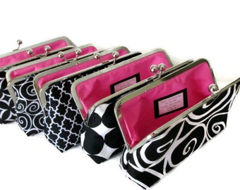 Black and White Bridesmaid Clutches - Design Your Own - You Choose Fabrics - Wedding attendant gifts