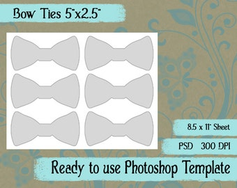 """Scrapbook Digital Collage Photoshop Template, Bow Tie Tags and Labels 5""""x2.5"""""""
