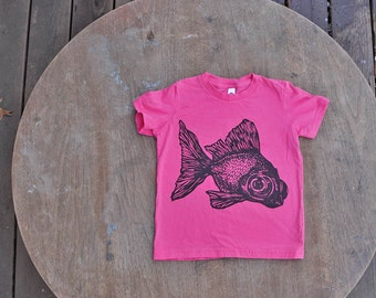 SALE CLEARANCE Goldfish T-Shirt / Black Moor Fish Design / Hipster Tee on American Apparel Bright Pink Tee for Kids