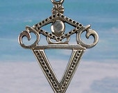 LA SIRENE VEVE - Solid Cast Silver Voodoo Lwa Vodou Charm Pendant in Sterling Silver or Bronze