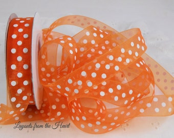 Orange and  White Sheer Polka Dot Organza Ribbon 3 Yards for scrapbooking cards sewing Beautiful Trim 5/8 inch wide jewelry supply polka dot