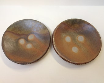 """Two 7"""" Wood-fired Stoneware Dessert Plates, Natural Ash Glazed"""