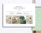 Holiday Mini Session Templates for Photographers - A6 Photography Flyer - Holiday Designs for Professional Photographers