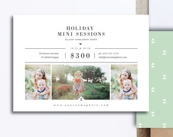 INSTANT DOWNLOAD! Mini Session Templates for Photographers - 5x7 Photography Flyer - Holiday Designs for Professional Photographers