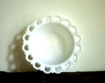 Lovely Vintage Milk Glass Pierced and Scalloped Vegetable Serving Bowl