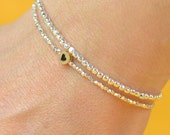 Sterling silver and heart vermeil gold charm Bracelet