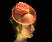Peaches and Cream| Flamingo peach fascinator, peach headband, peach hat, peach hair accessory, handmade fascinator,OOAK hat, headpiece