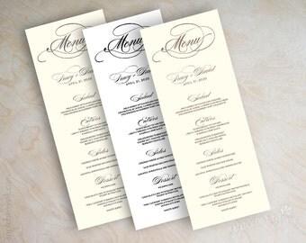 Wedding menu card, printable wedding menu, diy wedding menu, wedding reception menus, tower menu, tea length menu, long menu, plain, Script