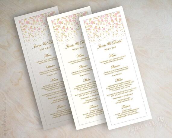 Gold And Pink Polka Dot Wedding Menu Card Printable Wedding
