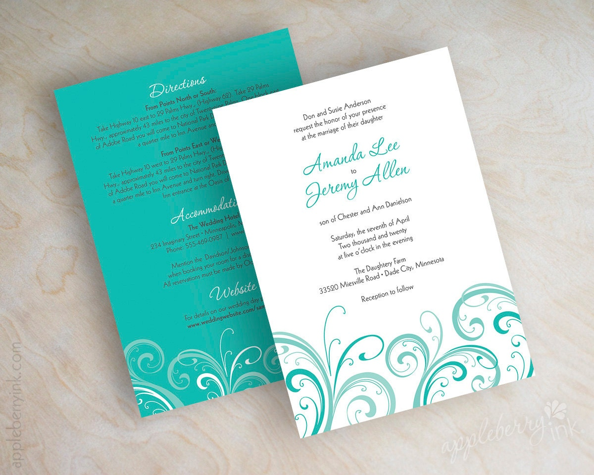 Turquoise And Pink Wedding Invitations: Teal Wedding Invitation Contemporary Wedding Invitation