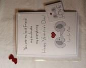 CUSTOM - personalized Valentine Card - Your Names - Elephant Couple