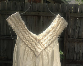 11th Design Beige Gauze Blouse w/Crochet Collar