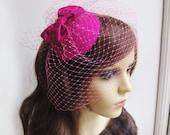Cocktail hat - birdcage veil - Silk cocktail hat - Bow fascinator  - Bridal headpiece - pink fascinator.
