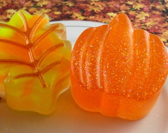 Soap - Two Fall Inspired Glycerin Soaps - Fall Leaf and Pumpkin - Handcrafted - Pumpkin Spice - SoapGarden